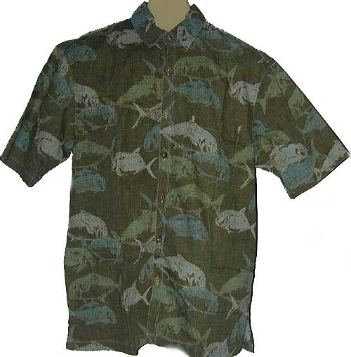 Aloha hawaiian shirts bowling attire plus size styles for Fish print shirt